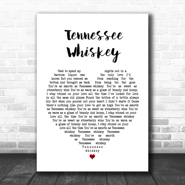 Chris Stapleton Tennessee Whiskey Heart Song Lyric Music Wall Art Print