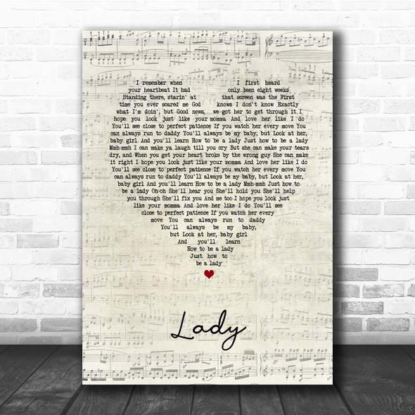 Brett Young Lady Script Heart Song Lyric Print