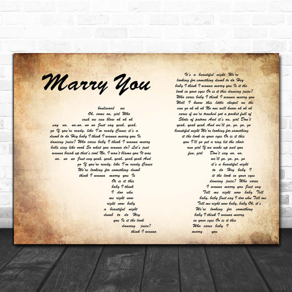 Bruno Mars Marry You Man Lady Couple Song Lyric Print