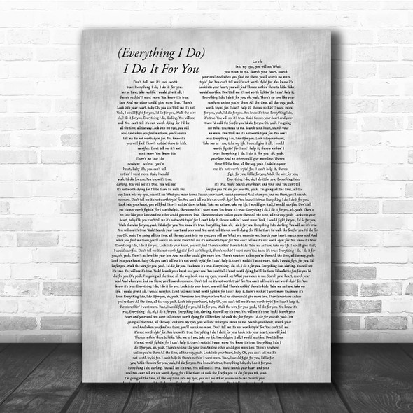 Bryan Adams (Everything I Do) I Do It For You Father & Child Grey Song Lyric Print