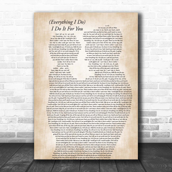 Bryan Adams (Everything I Do) I Do It For You Father & Child Song Lyric Print