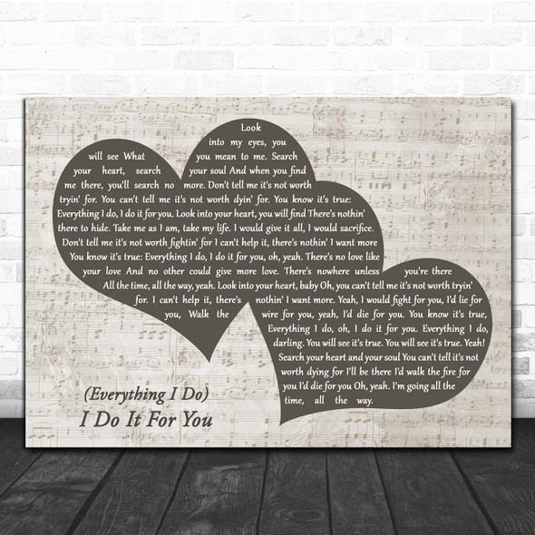 Bryan Adams (Everything I Do) I Do It For You Landscape Music Script Two Hearts Song Lyric Print