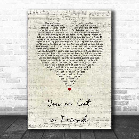 Carole King You've Got a Friend Script Heart Song Lyric Print
