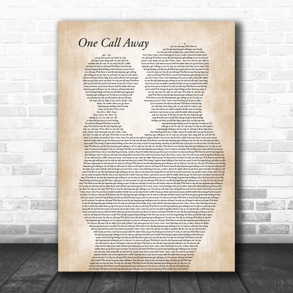 Charlie Puth One Call Away Father & Child Song Lyric Print