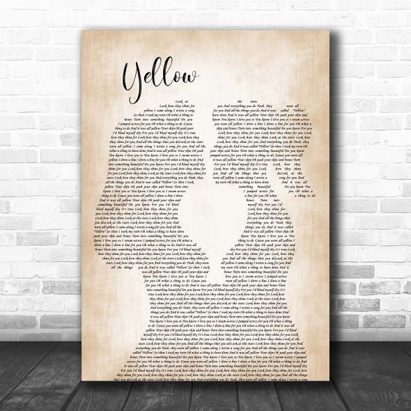 Coldplay Yellow Lesbian Women Gay Brides Couple Wedding Song Lyric Print