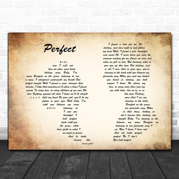 Ed Sheeran & Beyonce Perfect Man Lady Couple Song Lyric Music Wall Art Print