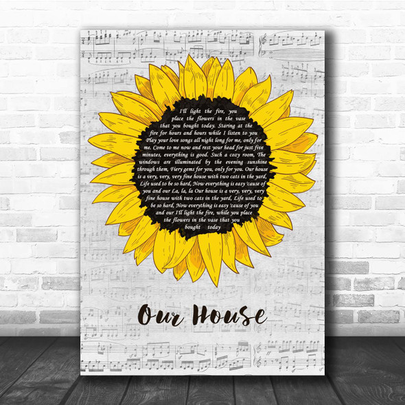 Crosby, Stills, Nash & Young Our House Grey Script Sunflower Song Lyric Print