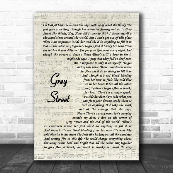 Dave Matthews Band Grey Street Vintage Script Song Lyric Print