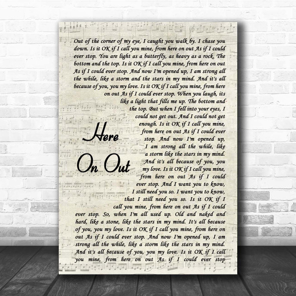 Dave Matthews Here On Out Vintage Script Song Lyric Print