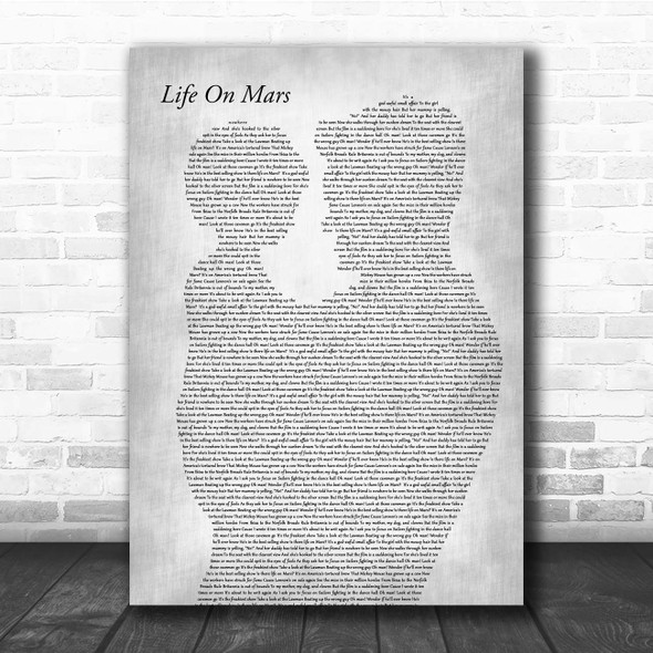 David Bowie Life On Mars Father & Child Grey Song Lyric Print