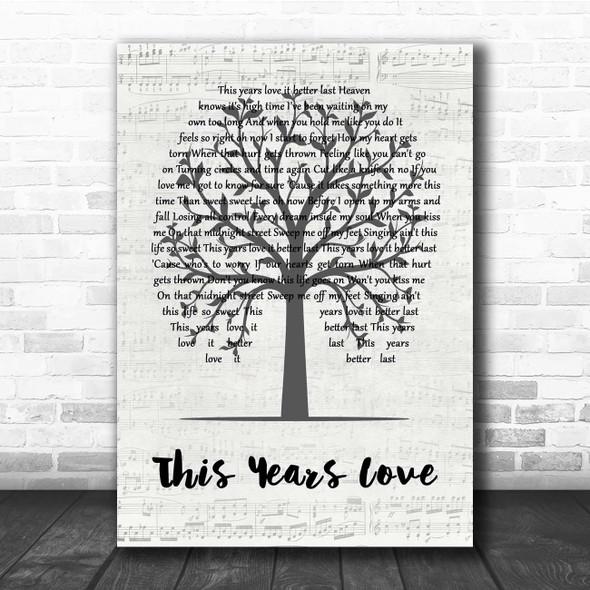 David Gray This Years Love Music Script Tree Song Lyric Print