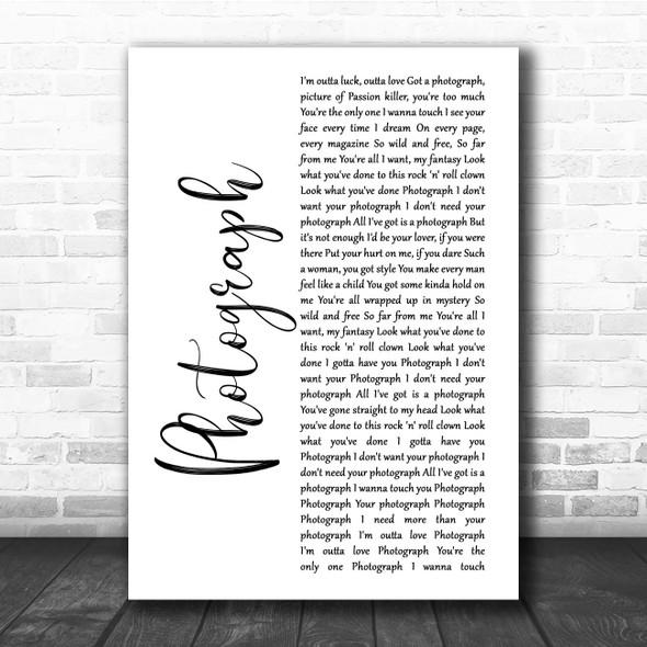 Def Leppard Photograph White Script Song Lyric Print