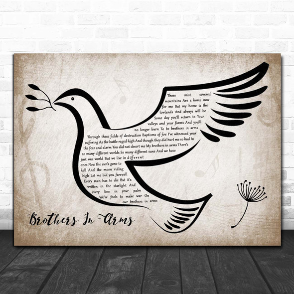 Dire Straits Brothers In Arms Vintage Dove Bird Song Lyric Print
