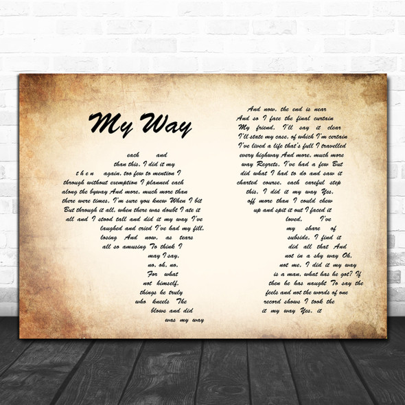 Frank Sinatra My Way Man Lady Couple Song Lyric Music Wall Art Print