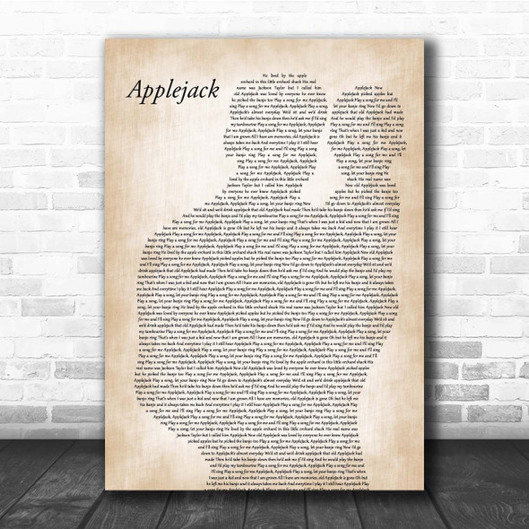 Dolly Parton Applejack Father & Baby Song Lyric Print