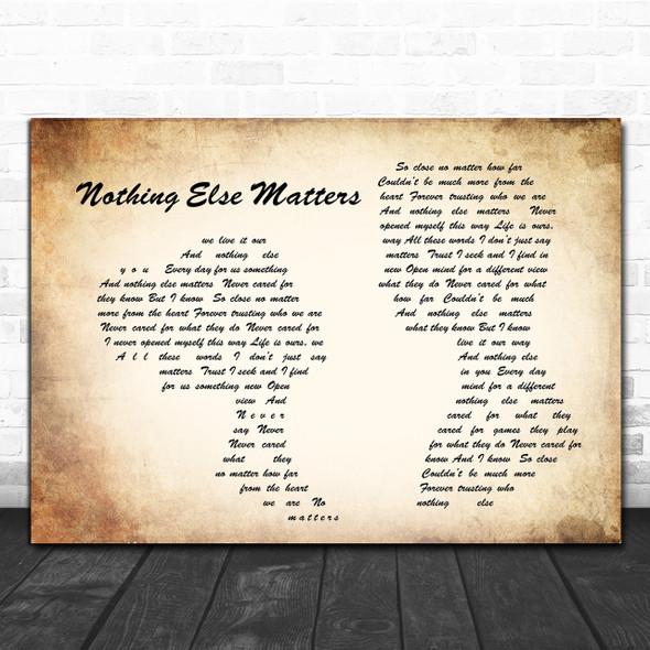 Metallica Nothing Else Matters Man Lady Couple Song Lyric Music Wall Art Print