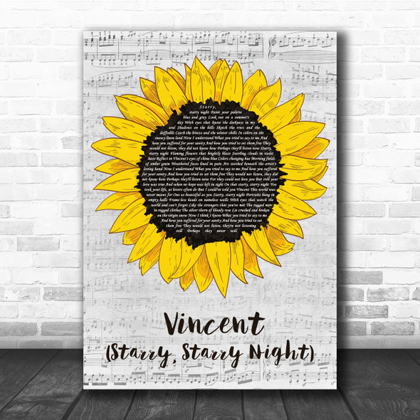 Don McLean Vincent (Starry, Starry Night) Grey Script Sunflower Song Lyric Print