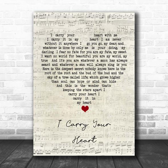 E.E. Cummings I Carry Your Heart Script Heart Song Lyric Print