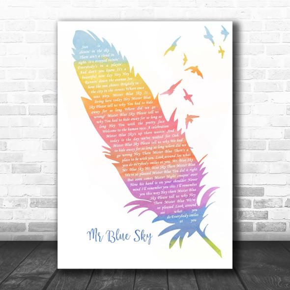 ELO Mr Blue Sky Watercolour Feather & Birds Song Lyric Print