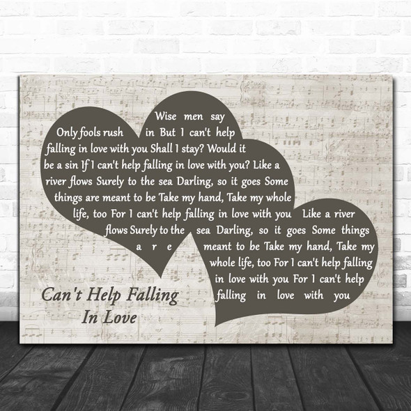 Elvis Presley Can't Help Falling In Love Landscape Music Script Two Hearts Song Lyric Print
