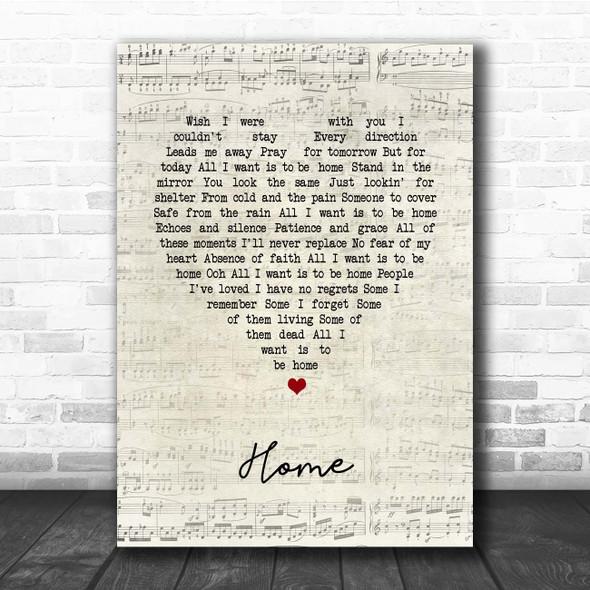Foo Fighters Home Script Heart Song Lyric Print