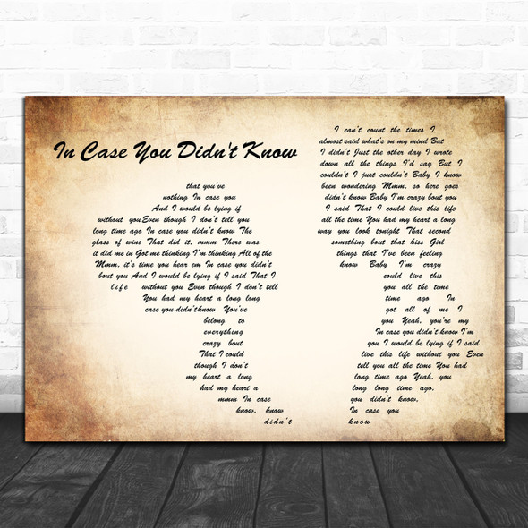 Brett Young In Case You Didn't Know Man Lady Couple Song Lyric Music Wall Art Print
