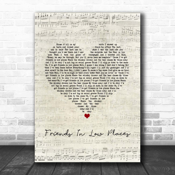 Garth Brooks Friends In Low Places Script Heart Song Lyric Print