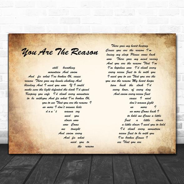 Calum Scott You Are The Reason Man Lady Couple Song Lyric Music Wall Art Print