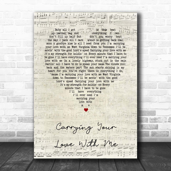 George Strait Carrying Your Love With Me Script Heart Song Lyric Print