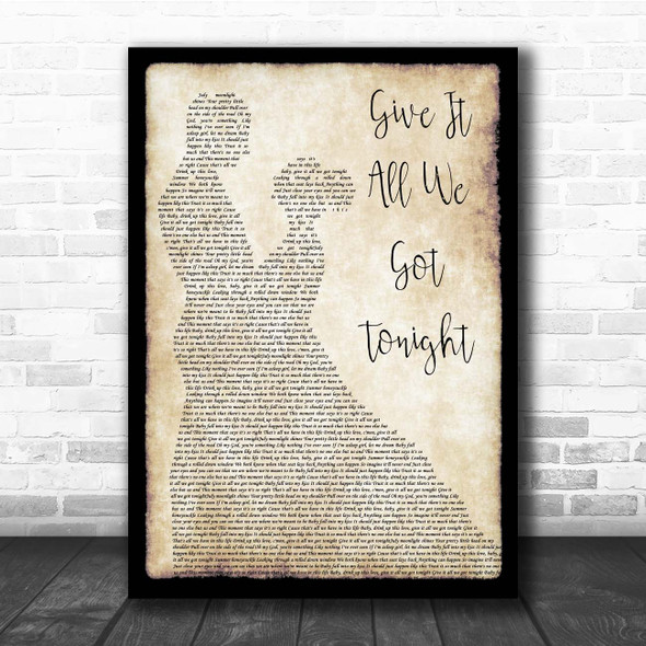 George Strait Give It All We Got Tonight Man Lady Dancing Song Lyric Print