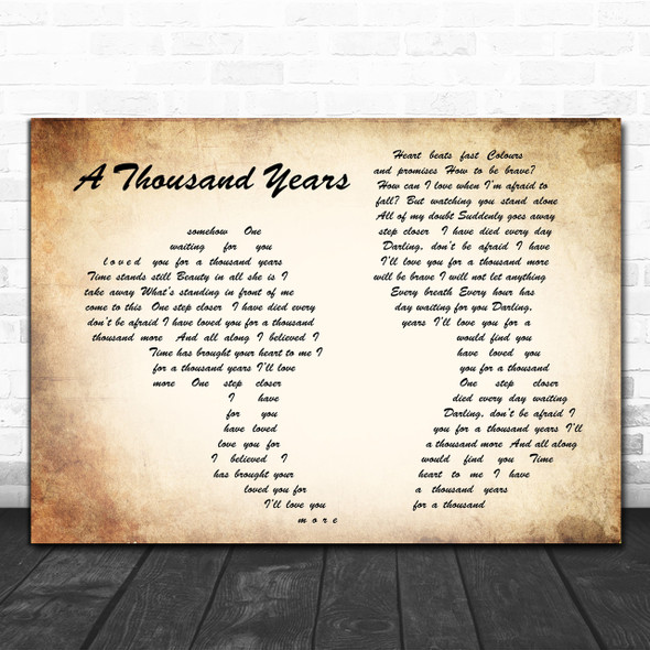 Christina Perri A Thousand Years Man Lady Couple Song Lyric Music Wall Art Print