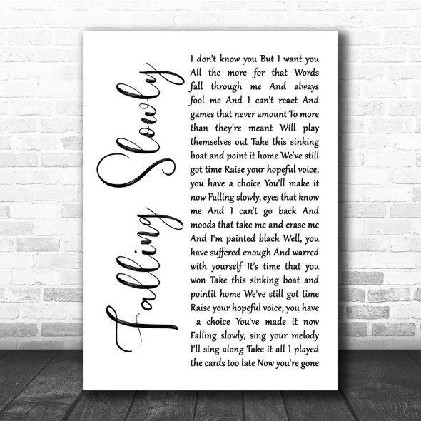 Glen Hansard, Marketa Irglova Falling Slowly White Script Song Lyric Print