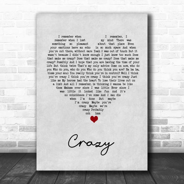 Gnarls Barkley Crazy Grey Heart Song Lyric Print