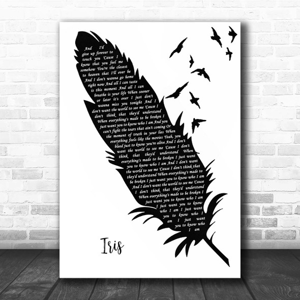 Goo Goo Dolls Iris Black & White Feather & Birds Song Lyric Print