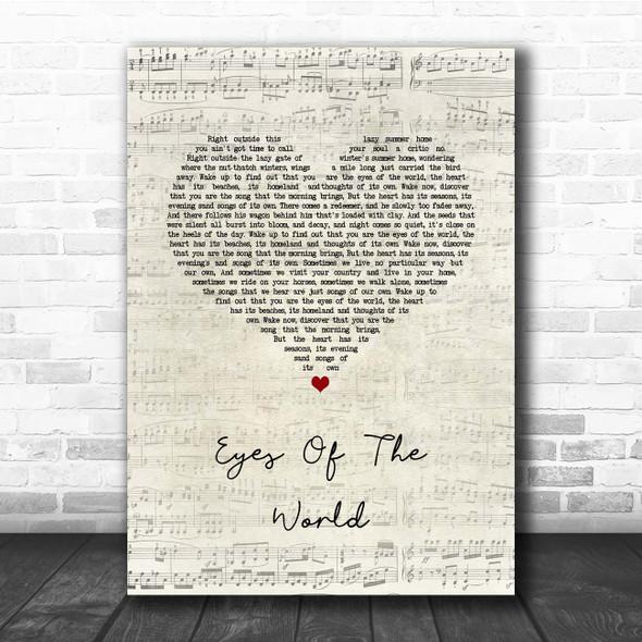 Grateful Dead Eyes Of The World Script Heart Song Lyric Print