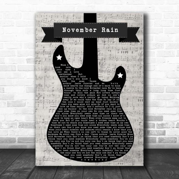 Guns N' Roses November Rain Electric Guitar Music Script Song Lyric Print