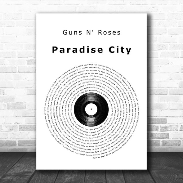 Guns N' Roses Paradise City Vinyl Record Song Lyric Print