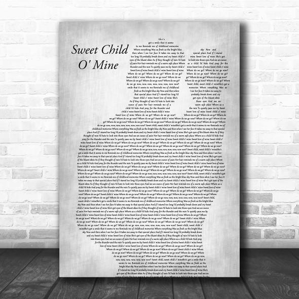 Guns N Roses Sweet Child O' Mine Father & Baby Grey Song Lyric Print