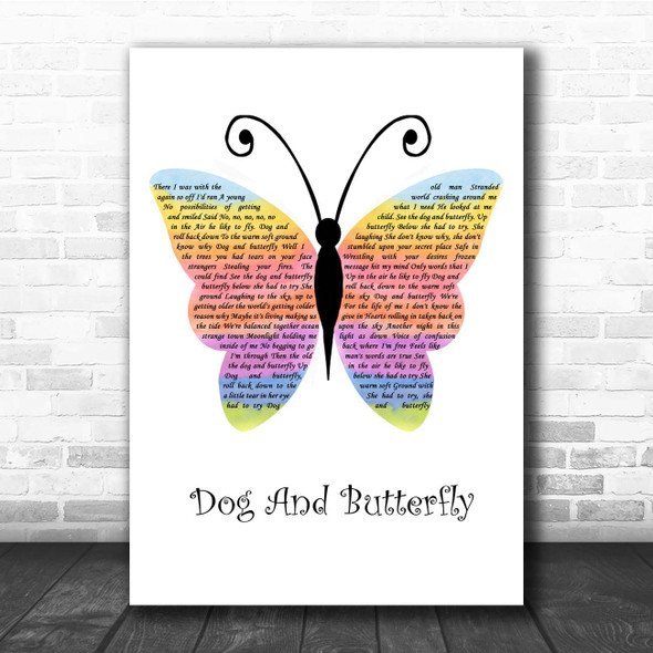 Heart Dog And Butterfly Rainbow Butterfly Song Lyric Print