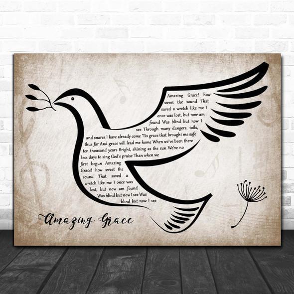 Hymn Amazing Grace Vintage Dove Bird Song Lyric Print