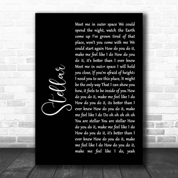 Incubus Stellar Black Script Song Lyric Print