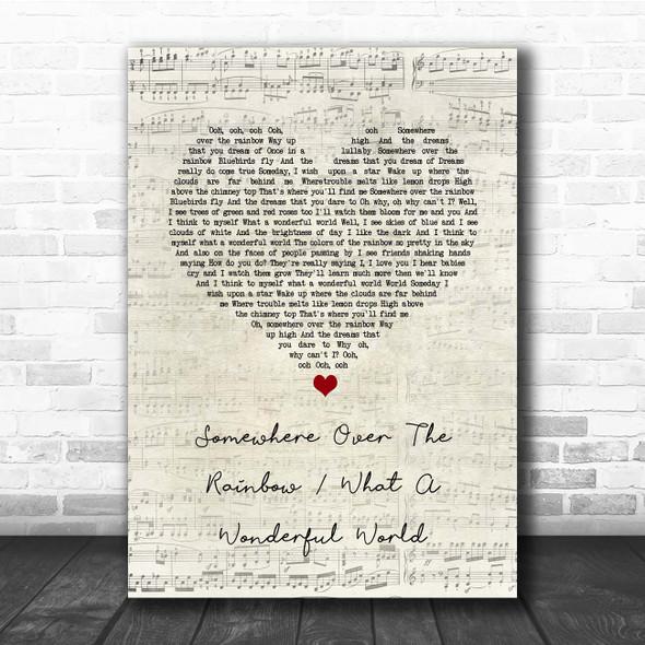 Israel Kamakawiwo'ole Somewhere over the rainbow & what a wonderful world medley Script Heart Song Lyric Print