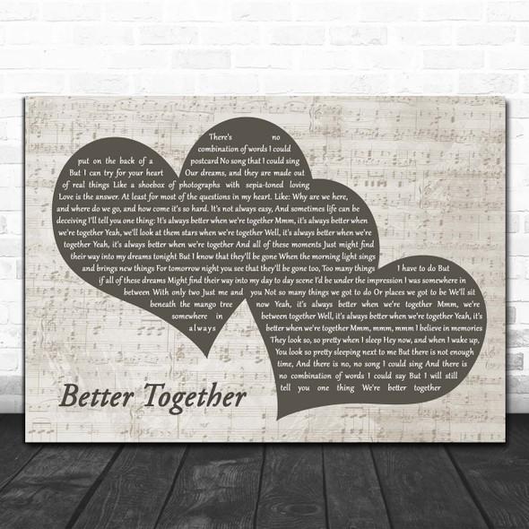 Jack Johnson Better Together Landscape Music Script Two Hearts Song Lyric Print