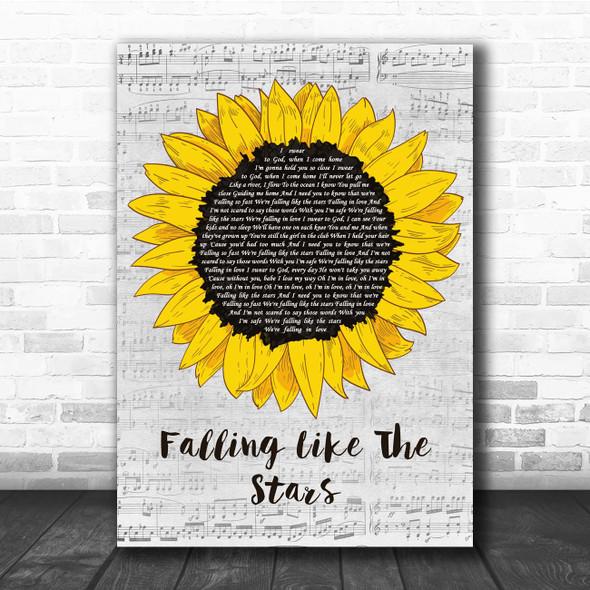 James Arthur Falling Like The Stars Grey Script Sunflower Song Lyric Print
