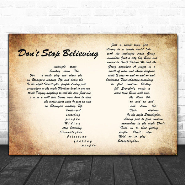 Journey Don't Stop Believing Man Lady Couple Song Lyric Music Wall Art Print