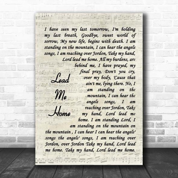 Jamey Johnson Lead Me Home Vintage Script Song Lyric Print
