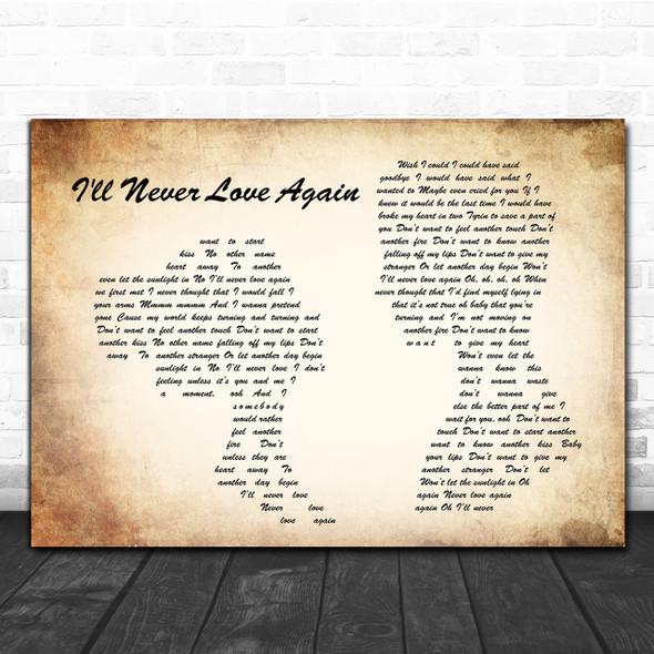 Lady Gaga Bradley Cooper I'll Never Love Again Man Lady Couple Song Lyric Music Wall Art Print