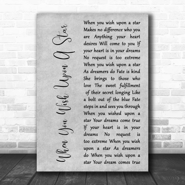 Jesse McCartney When You Wish Upon A Star Grey Rustic Script Song Lyric Print