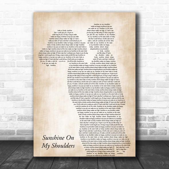 John Denver Sunshine On My Shoulders Mother & Child Song Lyric Print