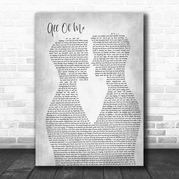 John Legend All Of Me Two Men Gay Couple Wedding Grey Song Lyric Print